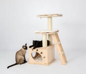 蜜罐貓貓 - 爬架貓窩貓樹一體實木貓架松木貓別墅貓玩具
