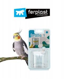 Ferplast - 鸚鵡食槽盒防撒防濺防摔杯透明亞克力